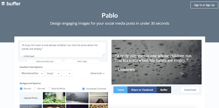 Pablo by Buffer - 100 social media tools