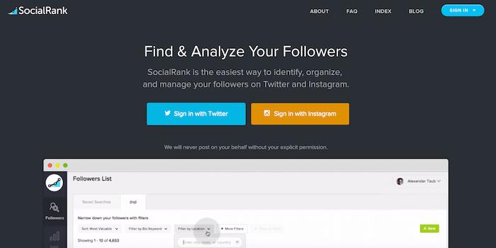 Socialrank - 100 social media tools