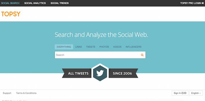 Topsy - 100 social media tools