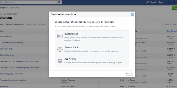 Facebook Custom Audiences - 100 social media tools